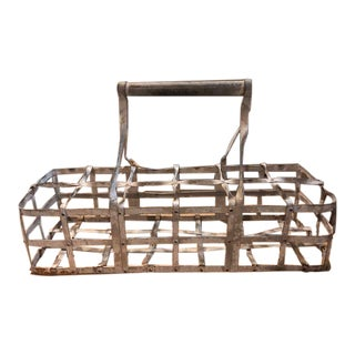 Rustic Metal Wire Basket For Sale