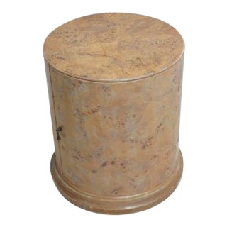 Emerson Italian Regency Burl Wood Drum Lamp End Table For Sale