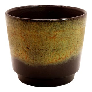 1970s Vintage West German Fat Lava Glazed Ceramic Pottery Planter For Sale