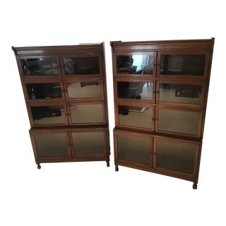 1920s Vintage Barrister Style Bookcase-a Pair For Sale