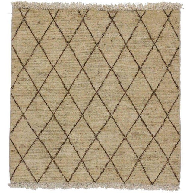 Modern Moroccan Style Accent Rug in Warm Colors For Sale - Image 4 of 4