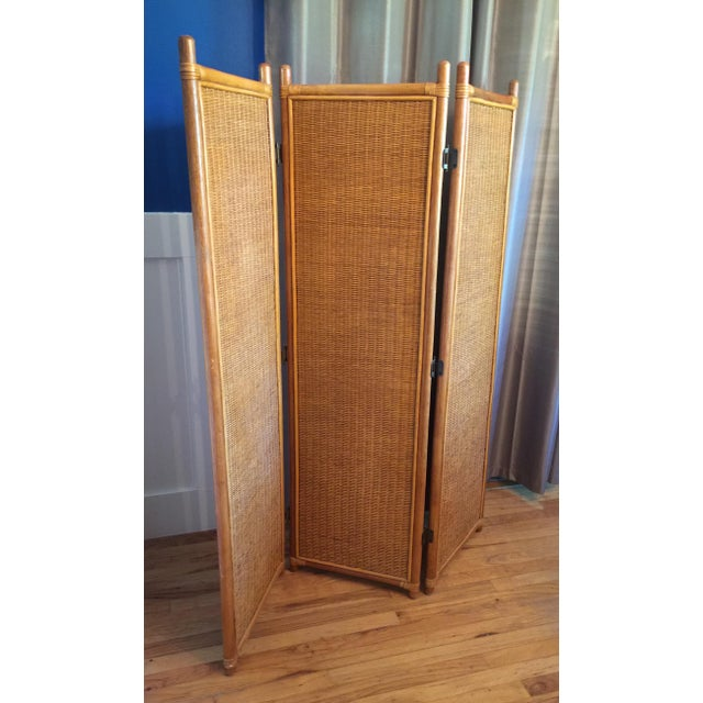 Vintage Rattan Bamboo 3 Panel Folding Screen Room Divider For Sale - Image 4 of 10