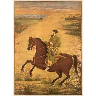 1950 Said Khan by Bitchitr Rai , Original Gold-Leafed Parisian Lithograph For Sale