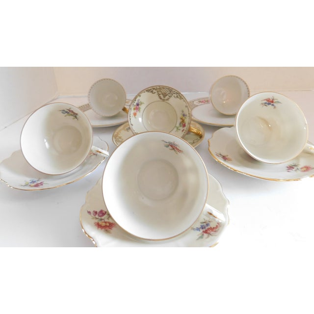 Antique Porcelain Demi-Tasse Cups & Saucers German and Limoges MIX and Match Sets - Service for 6 For Sale - Image 11 of 13