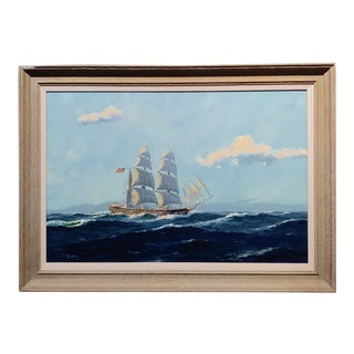 """William Hughes """"American Ship at Sea"""" Oil Painting For Sale"""