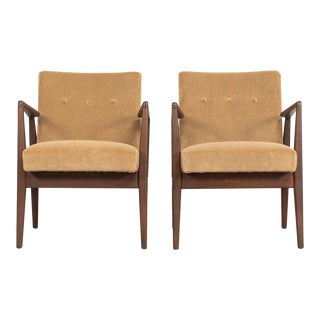 Mid Century Jens Risom Walnut Wood and Upholstered Lounge Arm Chairs For Sale
