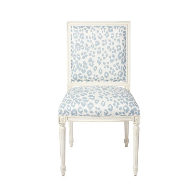 Schumacher Marie Therese Iconic Leopard Blue Hand-Carved Beechwood Side Chair For Sale - Image 11 of 11