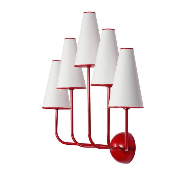 Jean Royère Large Five-Arm Red Wall Lamp in the Style of Jean Royère For Sale - Image 4 of 6