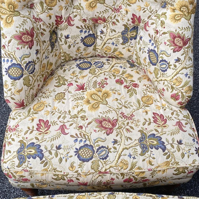 Tufted Floral Slipper Chairs - a Pair For Sale - Image 9 of 13