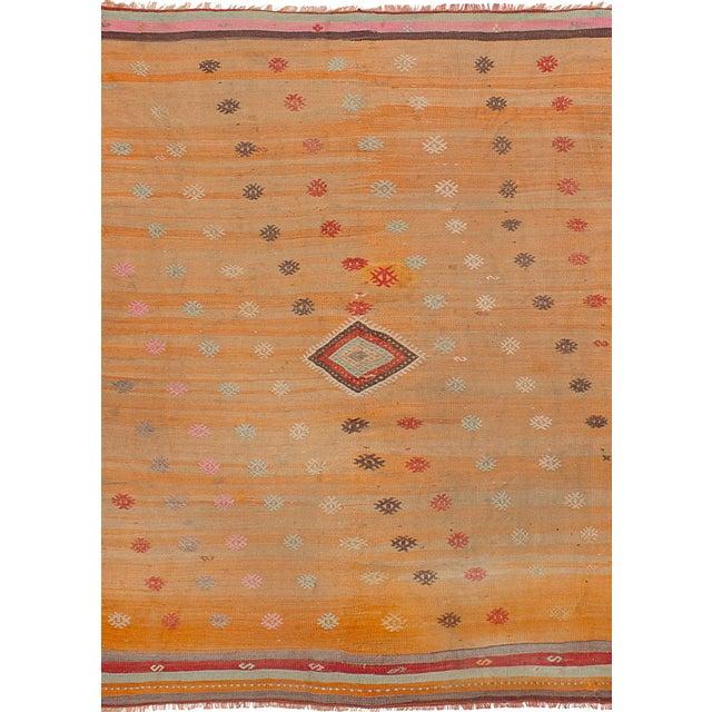 Turkish Orange Wool Pile Large Vintage Rug - 5' x 7' - Image 1 of 2