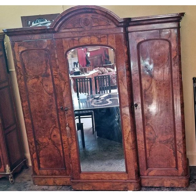 Brass 19c British Burl Walnut Breakfront 3 Door Wardrobe With Chest of Drawers For Sale - Image 7 of 13