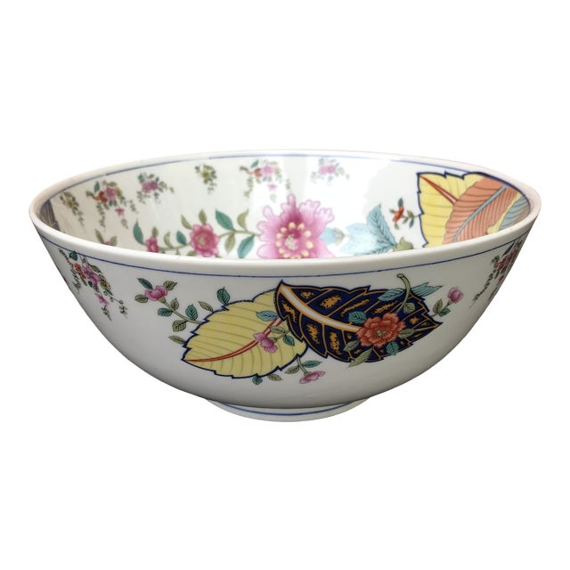 1970s Vintage Tobacco Leaf Large Porcelain Serving Bowl For Sale
