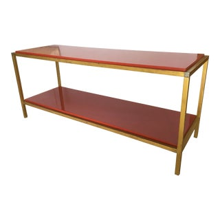 1970s Hollywood Regency Red Lacquer Two Tier Console Table With Brass Details For Sale