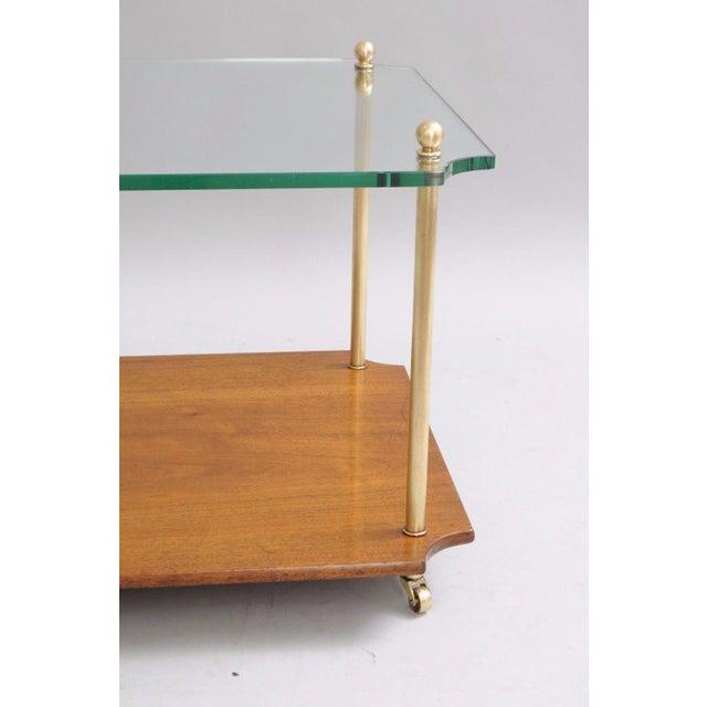 Mid Century Modern Walnut Brass Glass Table - Image 7 of 11
