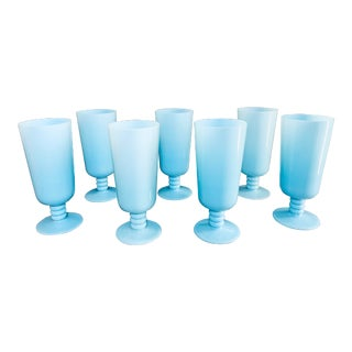 "1930s Antique French Blue Opaline Glassware 7"" Goblets by Portieux Vallerysthal - Set of 7 For Sale"