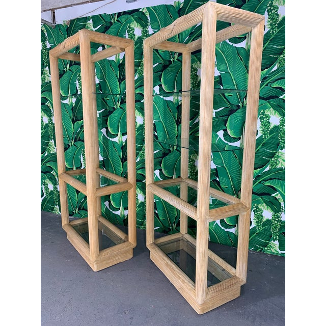 Split Reed Rattan Etageres in the Style of Gabriella Crespi, Set of 2 For Sale In Jacksonville, FL - Image 6 of 7
