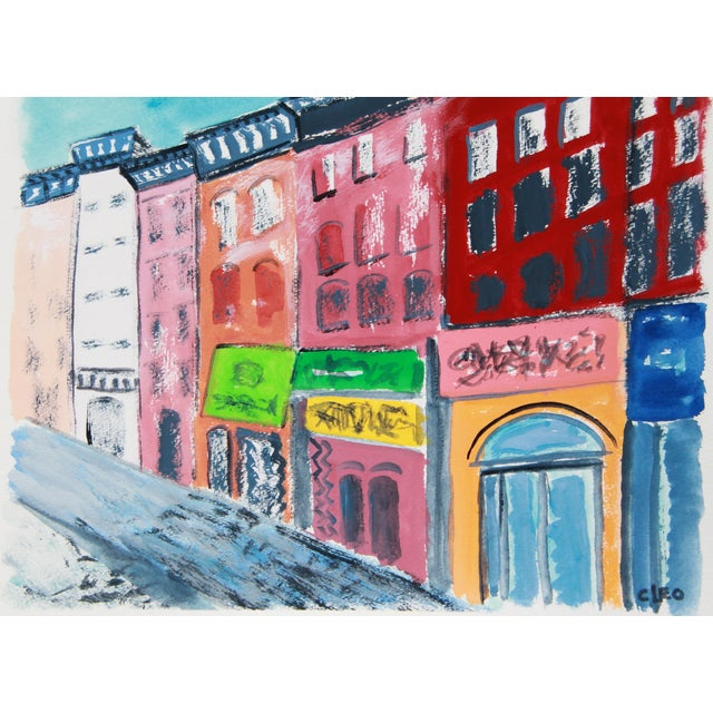 """""""Greenwich Village #2"""" Gouache Cityscape by Cleo - Image 2 of 4"""