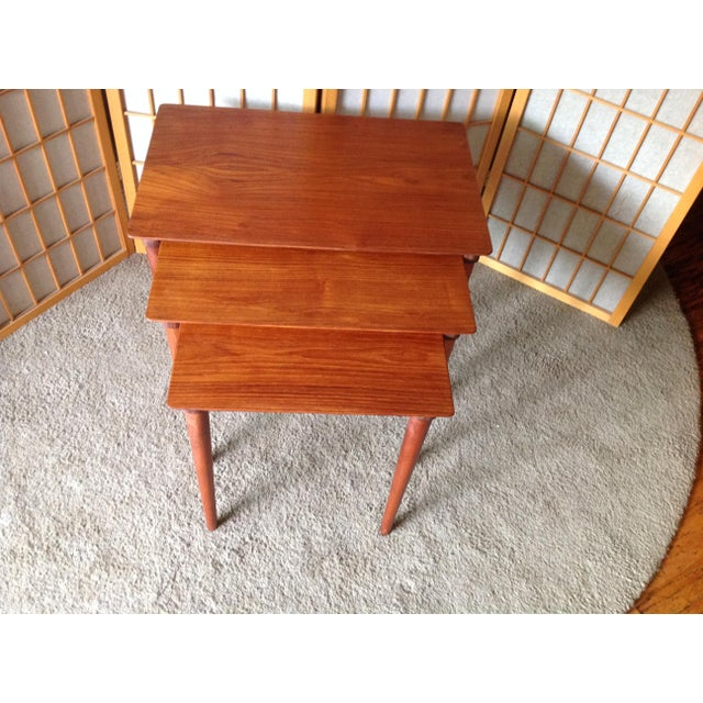 Danish Teak Nesting Tables - Set of 3 - Image 3 of 5