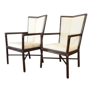 Orlando Diaz Azcuy for McGuire Pair of Cambria Arm Chairs For Sale