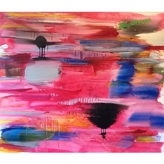 """Carolanna Parlato """"Streaming Pink"""" Large Poured Painting For Sale"""