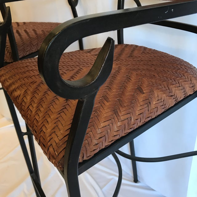 Iron and Woven Leather Bar Stools - a Pair For Sale - Image 10 of 12