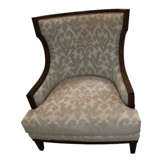 Robert Allen Traditional Paisley Print Upholstered Gable Chair For Sale