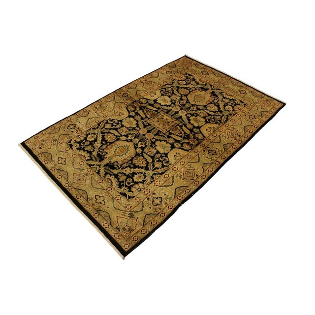 Contemporary Istanbul Dorla Black/Tan Turkish Hand-Knotted Rug -4'2 X 6'7 For Sale - Image 3 of 8