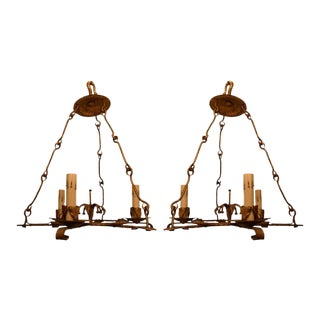 20th Century Gilded Iron Chandeliers - a Pair