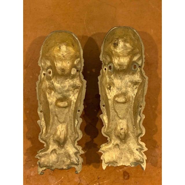 19th Century Napoleon III Gilt Bronze Female Medallion Furniture Mounts - a Pair For Sale - Image 5 of 10
