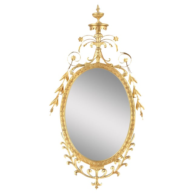 Pasargad NY Adam Style Oval Mirror in Gold Metal Leaf Finish - Image 1 of 6