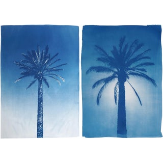 Duo of Egyptian Palms 100x140cm, Hand Painted Cyanotype Print on Watercolor Paper, Limited Edition of 50, 2019 For Sale