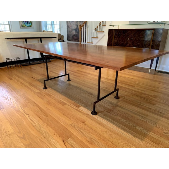 Metal Industrial Style Custom Dining Table With Heavy Iron Base For Sale - Image 7 of 7