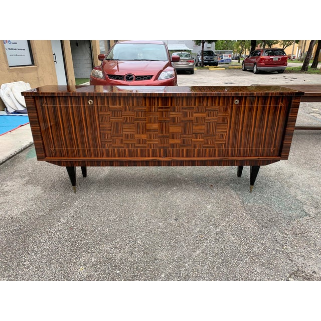 1940s Art Deco Exotic Macassar Ebony Sideboard/Credenza For Sale - Image 13 of 13