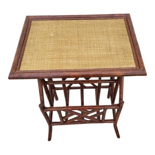 Boho Chic Faux Bamboo and Rattan Occasional Table For Sale