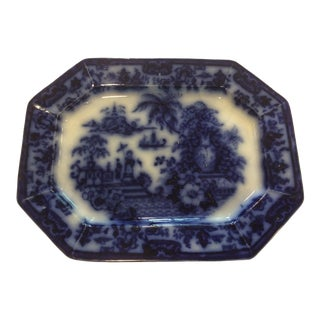 19th Century Chinoiserie Staffordshire Cabul Pattern Flow Blue Platter For Sale