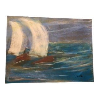 "Final Price! Nancy ""Canvas Miracles"" Original Seascape Pastel Painting For Sale"