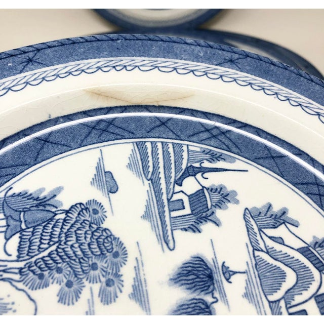 Antique Blue & White Canton Pattern China Collection - Set of 14 For Sale - Image 9 of 13