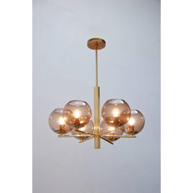 Mid-Century Modern German Globe Chandelier For Sale - Image 3 of 10