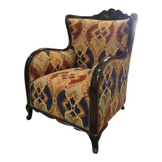 Exposed Wood Upholstered Statement Arm Chair For Sale