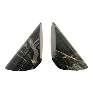 Black Marble Cylindrical Bookends - a Pair