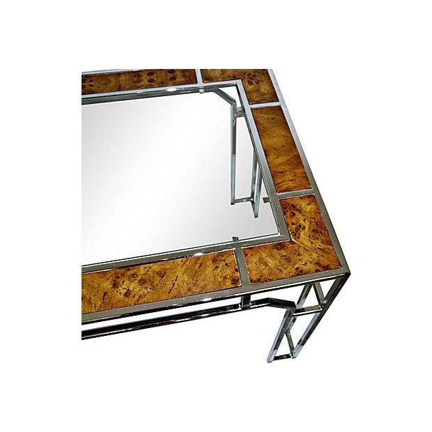 Milo Baughman-Style Chromed Steel & Burlwood Table - Image 3 of 5