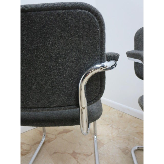 Silver Knoll Arm Chrome Cantilever Arm Chairs - A Pair For Sale - Image 8 of 9