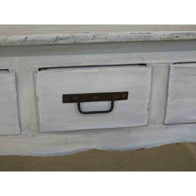 Shabby Chic Country White 3 Drawer Console Table Server For Sale - Image 4 of 10