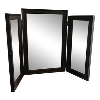 Vintage Tri Fold Dresser Vanity Wood Mirror For Sale