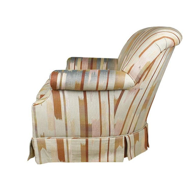 Baker Furniture Company Rolling Upholstered Southwest Ikat Armchair in Brown Cream and Blue by Baker Furniture Company For Sale - Image 4 of 13