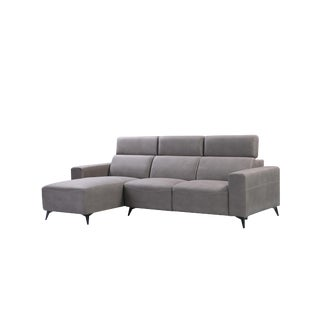 Pasargad Home Modern Bari Sectional Sofa With Right Chaise, Grey For Sale