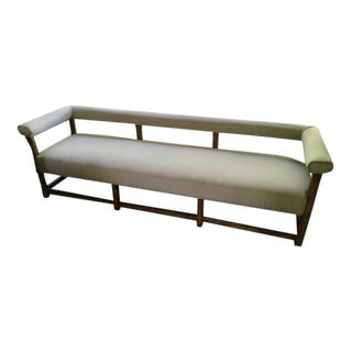 Vintage Mid Century Modern Tan Tweed Cushioned Bench For Sale