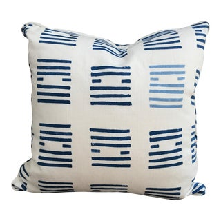 "Contemporary Custom Down-Filled Schumacher's Tiasquam Covered Pillow - 18x18"" For Sale"