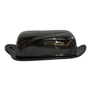 1960s Mid-Century Modern Frankoma Black Onyx Butter Dish For Sale