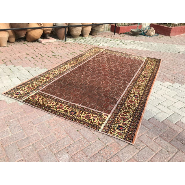 "Vintage Turkish Patchwork Rug - 5'5"" X 8'10"" For Sale - Image 5 of 11"